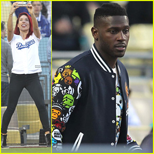 Sharna Burgess & Antonio Brown Throw Out First Pitch at Dodgers Game