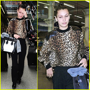 Bella Hadid Goes Makeup Free As She Arrives in London