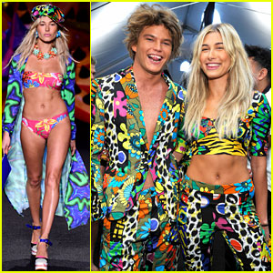 Hailey Baldwin & Jordan Barrett Wear Matching Outfits at Moschino Show!