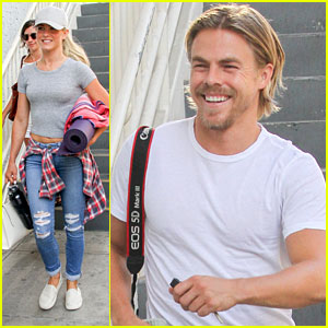 Julianne Hough Hides Her Long Hair During CorePower Yoga Class with Brother Derek