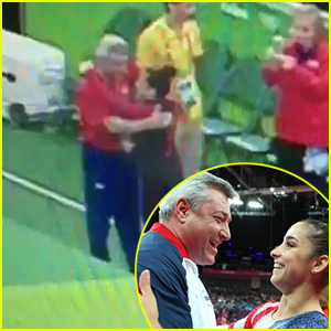 Aly Raisman Gives Olympic Gold Medal To Coach Mihai Brestyan After Team Finals in Rio