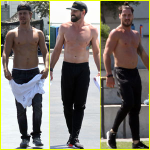 Derek Hough, Val & Maksim Chmerkovskiy Go Shirtless For 'DWTS' Shoot