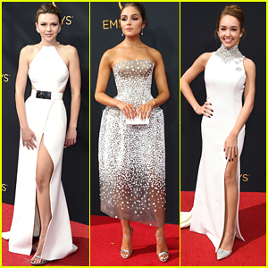 Aimee Teegarden Steps Out at Emmy Awards with Olivia Culpo & Holly Taylor