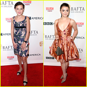 Millie Bobby Brown & Maisie Williams Stop By The BAFTA Tea Party Before The Emmys