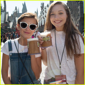 Millie Bobby Brown & Maddie Ziegler Try Butterbeer at The Wizarding World of Harry Potter!