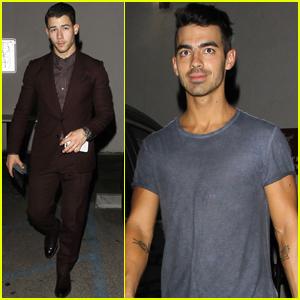 Nick & Joe Jonas Grab Dinner With Camilla Belle & Halston Sage