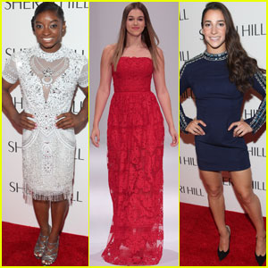 Simone Biles & Aly Raisman Watch Sadie Robertson Walk in Sherri Hill's Fashion Show