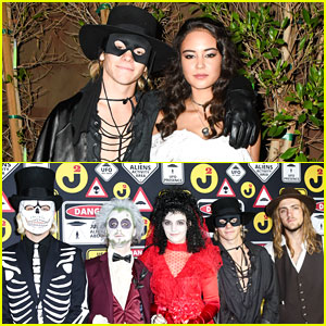 Ross Lynch Joins R5 & Girlfriend Courtney Eaton at Just Jared's Halloween Party