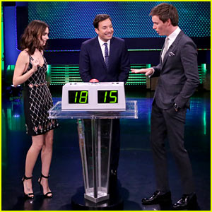 VIDEO: Lily Collins & Eddie Redmayne Compete in 'Know It All' with Jimmy Fallon
