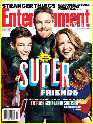 Superheroes Grant Gustin, Stephen Amell, & Melissa Benoist Cover 'EW'!