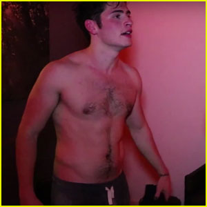 VIDEO: Gregg Sulkin Goes Shirtless While Sweating It Out With Cameron Fuller