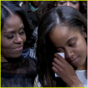 VIDEO: Malia Obama Tears Up During President Obama's Farewell Address