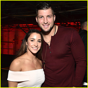 Aly Raisman Meets Up with Tim Tebow at Pre-Super Bowl Party!