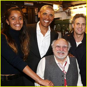 Malia Obama Watches a Broadway Show with Dad Barack!