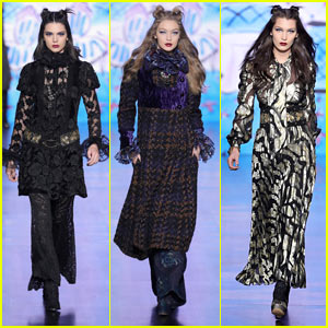 Kendall Jenner Joins Gigi & Bella Hadid on the Runway for Anna Sui's Fashion Show