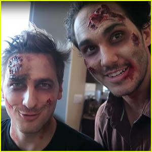Big Time Rush's Carlos PenaVega & Kendall Schmidt Get Zombified!