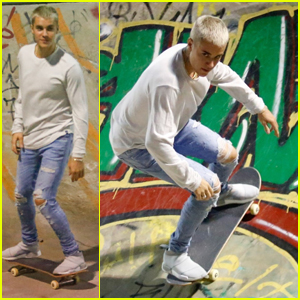 Justin Bieber is a Pretty Good Skateboarder!