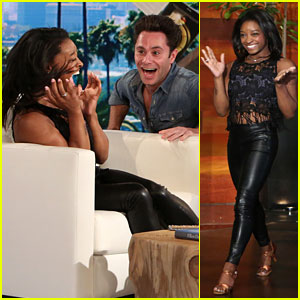 Simone Biles Totally Freaked Out When Sasha Farber Scared Her on 'Ellen' - Watch!