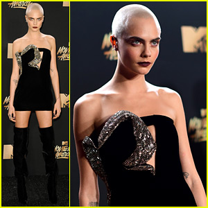 Cara Delevingne Looks So Fierce with No Hair at MTV Awards 2017!
