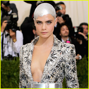 Cara Delevingne Paints Her Head Silver for Met Gala 2017!
