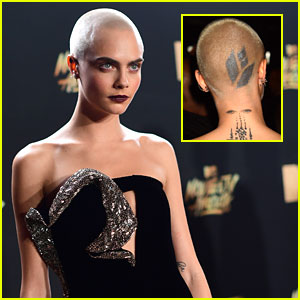 Cara Delevingne's Head Tattoo from the MTV Movie & TV Awards 2017 is Not Real