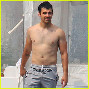 Joe Jonas Goes Shirtless While Hanging Out With Nick in Cannes