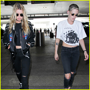 Kristen Stewart & Stella Maxwell Catch a Flight in Coordinating Outfits