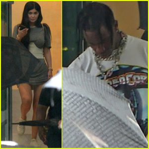 Kylie Jenner & Travis Scott Head to a Recording Studio in Miami