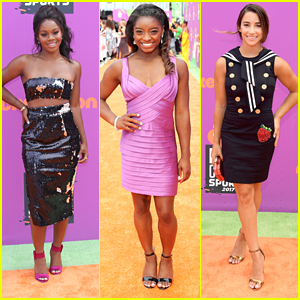 Gabby Douglas, Simone Biles & Aly Raisman Hit The Orange Carpet Together at Kids' Choice Sports 2017
