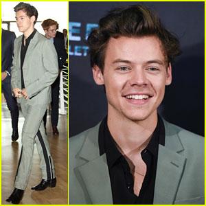 Harry Styles Wears Gray Suit To 'Dunkirk' Premiere
