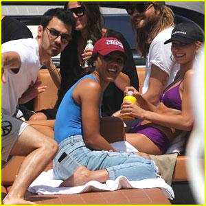 Joe Jonas & Hailey Baldwin Hit Up Miami Beach with Friends