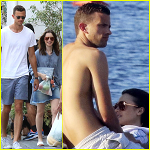 Lily Collins & High School Classmate Jason Vahn Kiss in Italy!