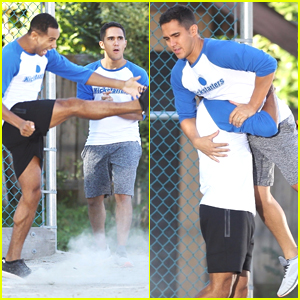 Carlos PenaVega & Elliot Knight Get Really Into A Kickball Game on 'Life Sentence' Set