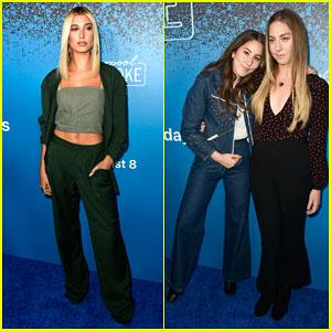 Hailey Baldwin & Haim Sisters Step Out In Style for 'Carpool Karaoke: The Series' Launch!