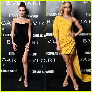 Bella Hadid & Jasmine Sanders Go Glam for Bvlgari Party