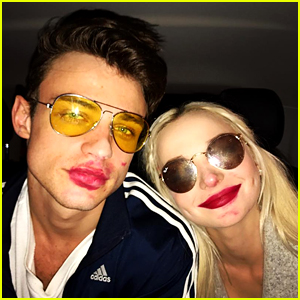 Dove Cameron & Thomas Doherty Have an Adorable Lipstick Mishap