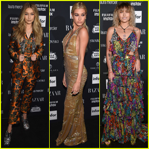 Gigi Hadid Suits Up For Harper's Bazaar Party With Hailey Baldwin & Paris Jackson