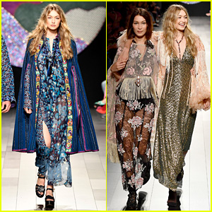 Gigi Hadid Loses Shoe During Anna Sui Show, Laughs It Off With Sister Bella (Video)