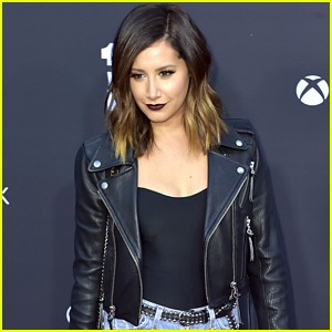 Ashley Tisdale Wears Dark Lips For 'Walking Dead's 100th Episode Party