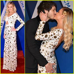 Kelsea Ballerini Kisses Fiance Morgan Evans at CMA Awards 2017
