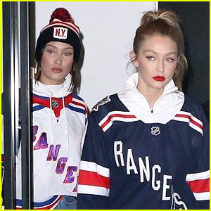 Bella Hadid Joins Big Sister Gigi at a Hockey Game in NYC!