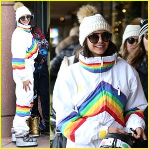 Nina Dobrev Is Rainbow Bright Before Snowboarding Fun