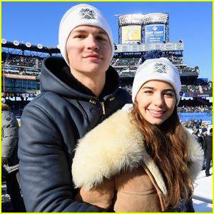 Ansel Elgort & Violetta Komyshan Bundle Up For NHL Winter Classic