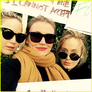 BFFs Jennifer Lawrence & Adele Fight for Women's Rights at Women's March 2018!