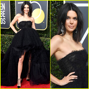 Kendall Jenner Joins In By Wearing Black Dress at Golden Globes 2018