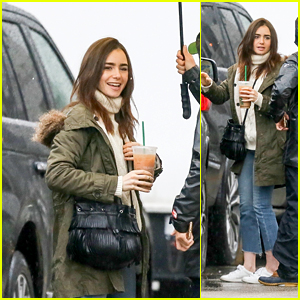 Lily Collins Arrives on the Set of Her Upcoming Movie With Zac Efron!