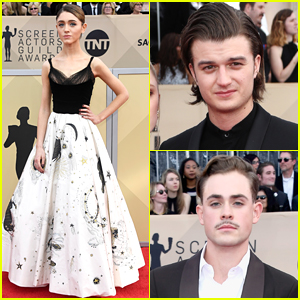 Natalia Dyer, Dacre Montgomery, & Joe Keery Hit The SAG Awards 2018 Red Carpet!