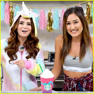 Rosanna Pansino & LaurDIY Bake Unicorn Frappuccino Inspired Cake - Watch!