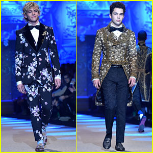 Ross Lynch & Austin Mahone Suit Up at Dolce & Gabbana Show