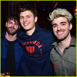 Ansel Elgort Joins The Chainsmokers at Their Pre-Grammys Party!